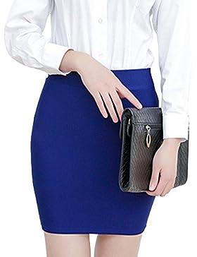 Mujeres En Minifalda Alta Cintura Elástica Básica Multifuncional Lapiz Falda Corto