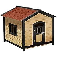 Trompeta de madera roja sólida caseta de perro perrera carbonizada al aire libre caja de arena