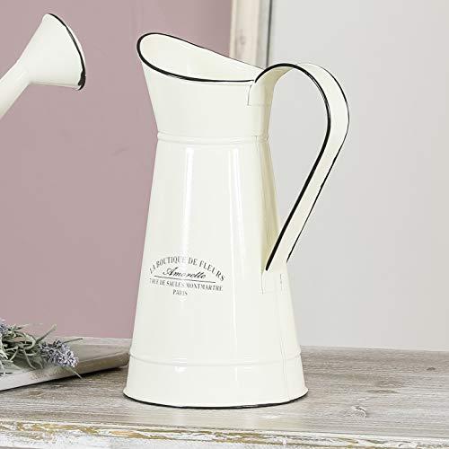 Deko-Vase aus Metall, groß, cremefarben/elfenbeinfarben (Tafelaufsatz Creme)
