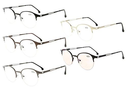 Eyekepper 5 Paar Leser Spring Scharniere Half-Felge Runde Lesen Gläser Inklusive Computer Brillen(Eine für jede Farbe, 1.00)