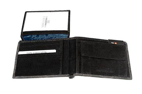 Portafoglio uomo EGON FURSTENBERG grigio cenere con patta e portamonete A4314