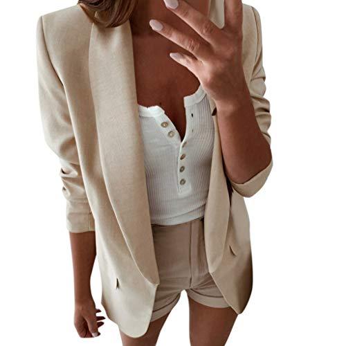 York Kostüm North - URSING Damen Elegant Langarm Blazer Sakko Einfarbig Slim Fit Revers Geschäft Büro Jacke Anzugjacke Kurz Mantel Anzüge Bolero mit Tasche