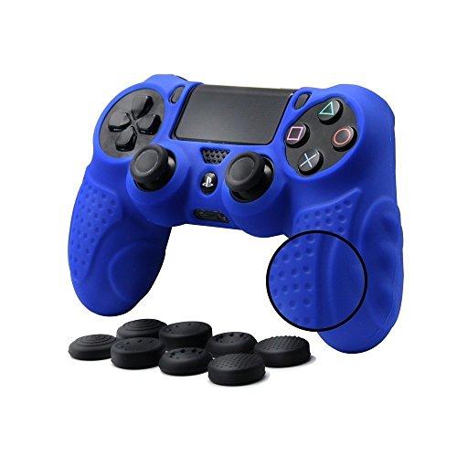 CHINFAI PS4 Controller Schutz-Hülle, Silikon Anti-Rutsch 8 Daumen Griffe Skin Grip Schutzhülle für Sony PS4 / SLIM / PRO Controller(Blau) (Gummi Ps4)