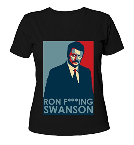 ron-swanson-obama-election-style-womens-v-neck-t-shirt-small