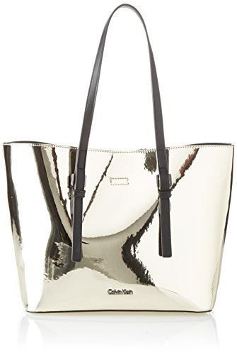 Calvin Klein Ck Zone Medium Shopper Metalic, Cabas femme, Or (Light Gold), 14x25x41 cm (B x H T)