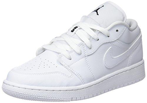 Nike Mädchen AIR JORDAN 1 LOW (GS) Basketballschuhe  Weiß (Black/White 101), 38 EU