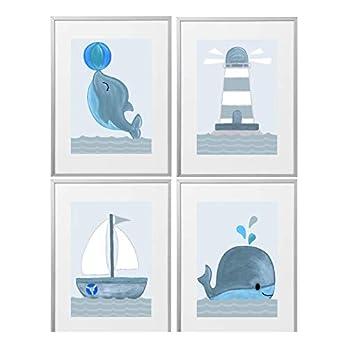4er Set Kinderzimmer Maritim Babyzimmer Poster Bilder DIN A4 | Junge Mädchen Deko | Dekoration Wal Kinderzimmer…