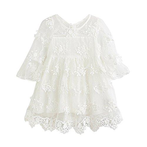 Brightup Kinder Mädchen Spitze Rüschen Ärmel Stickerei Kleid Weiß/Rosa Party Kleid Sommerkleid, Urlaub Strandkleid für 2-6 Jahre