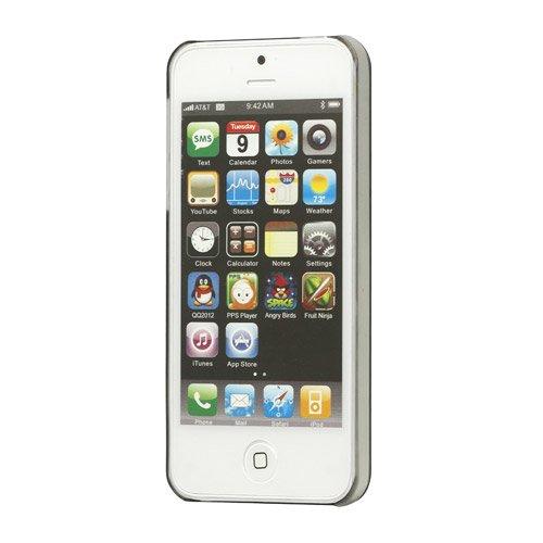 [A4E] Handyhülle passend für Apple iPhone 5 5S, Hülle, Case, Cover, Hartschale mit buntem Eule / Owl Muster, in rot / lila / violett Schmetterling - schwarz