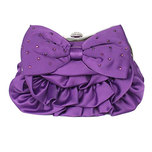 Lady Silk Bowknot Cena Catena Della Spalla Bag Party Purple