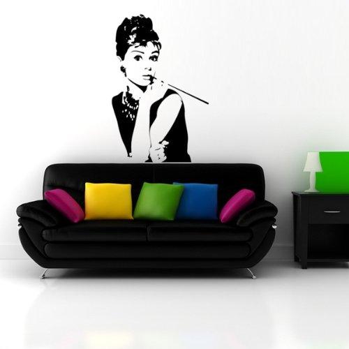 Adesivi Murali Audrey Hepburn.Wall Stickers Adesivi Murali Decorazioni Nero Audrey Hepburn
