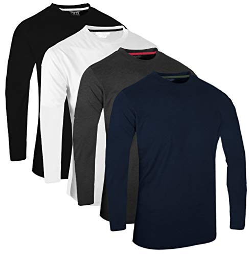 Full Time Sports Fts-640 4 Pack Sortierte Solid Dye Combo 1 Langarm Tech T-Shirt Navy White Charcoal Schwarz -XXL - Aus Langarm-shirt