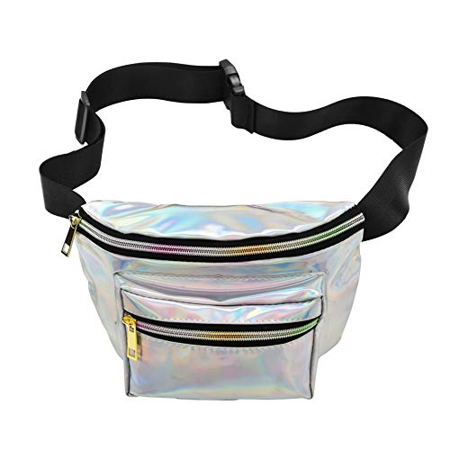 usmley Waist Bag Waterproof for Women and Men Shiny Neon Fanny Pack Bum Travel Purse (White)
