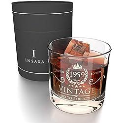 Cadeaux d'Anniversaire 60 Ans pour Hommes et Femmes. Vintage 1959 Verre à Whisky (380ml)