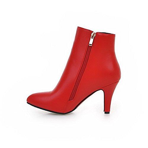 AllhqFashion Damen Spitz Zehe Niedrig-Spitze Rein Stiefel mit Anhänger, Rot, 41