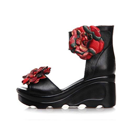 KPHY Summer Soft Bottom Spesso Fondo Forte Pantofole China Tacchi I Fiori Le Dita Dei Piedi Cavo Pantofole.Trentotto Black