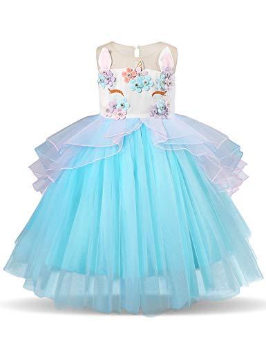 Nnjxd ragazza unicorno ruffles fiori festa cosplay abito da sposa vestito della principessa taglia(100) 3-4 anni blu