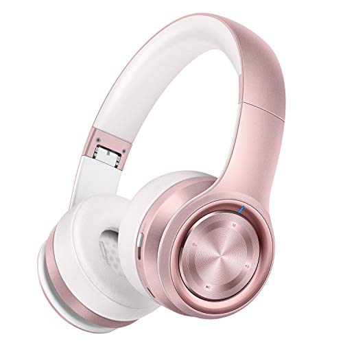 SOTEFE®Rosa Bluetooth-Kopfhörer-Headphones Sport-Kopfhörer Bluetooth Drahtlos Kopfhörer MikrofonHiFi-Super-Sound Starke Bässe Unterstützung Karte TF/SD-MP3-Player Batterie 1000mAh Spielen Sie mehr 60H