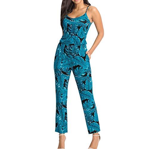 feiXIANG Damen Jumpsuit Sommer Mode Sling Sleeveless Overall Blumendruck Clubwear Casual Hosenanzug Sommer (C/Grün,M)
