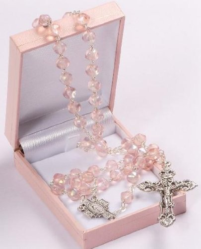 Pink Rosary Beads. Glass Rosary. Gift Rosary. Strong Rosary. Catholic rosary. Lovely First Holy Communion Gift. Only from St Joseph's Catholic Giftshop on Amazon