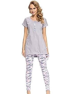 dn nightwear Damen Schlafanzug zum Stillen PM.9007