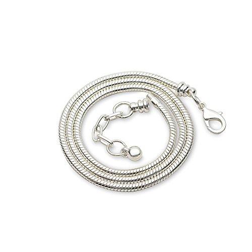 rubyca Silber Farbe Schlange Kette Halskette Passform Europäische Charm-Perlen Karabinerverschluss, plastik, weiß/silberfarben, 5 PCS - Perle-perlen-halsketten-bulk