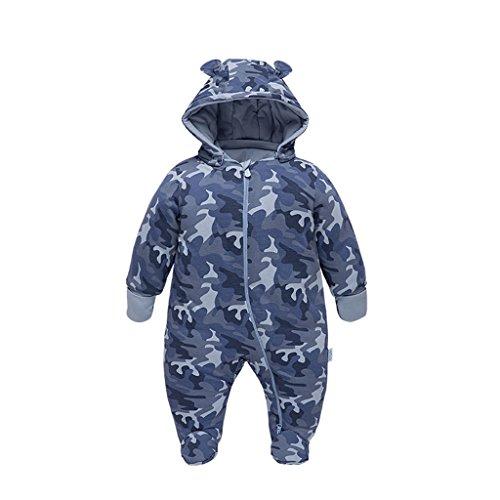 Vine Bebé Traje de Nieve Niño Mameluco de bebé con Capucha Ropa de Invierno Cremallera Camuflaje 3-6 Meses,Azul