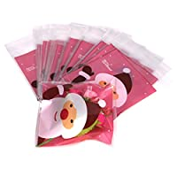 bismarckbeer 50Pcs Self Adhesive Christmas Santa Claus Candy Cookie Bags Cellophane Chocolate Sweets Gift Bags