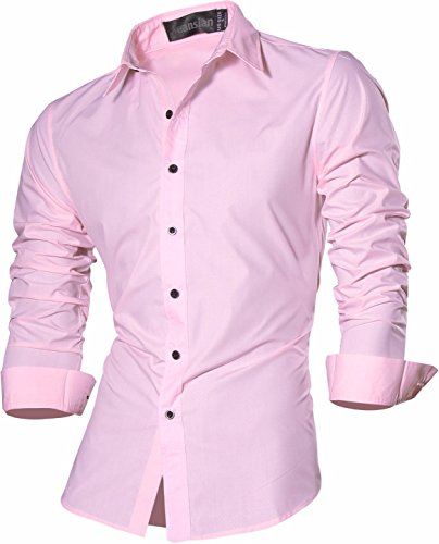 jeansian Uomo Camicie Un Colore Solido Senza Fiori Moda Abito Camicia Affari Slim Casual Shirts Z029 Pink