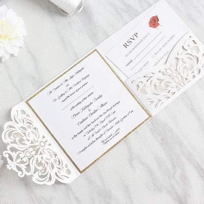 ZheQR Elegant Tri-Fold Pocket Wedding Invite with Belly Band Laser Cut White Gold Glittery Customized Printing,White,Customized Printing (Einladungen White Pocket)