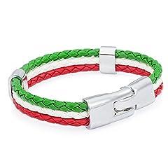 Idea Regalo - TRIXES Braccialetto da Polso Intrecciato Unisex con il Tricolore Italiano, Verde, Bianco e Rosso a 3 Intrecci per Eventi Sportivi e le Feste Nazionali