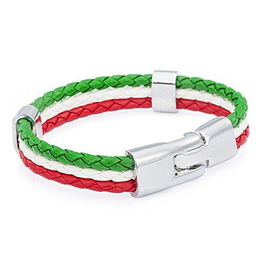 Trixes geflochtenes Armband in den Farben der italienischen Trikolore grün weiß und rot Unisex Armband für Sportveranstaltungen und Nationale Events
