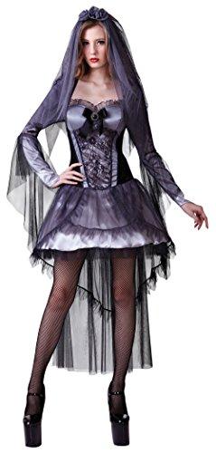 Damen Kostüm Dunkle Braut Vampir Gothic Rockstar Braut Einheitsgröße (Damen Rockstar Kostüm Für)
