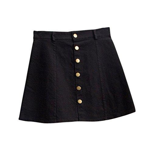Mini Jeans Röcke LUVERSCO Damen Taille Rock Koreanischer Stil MäDchen Cowboy Mini Jeans Und Kurzen Rock (Schwarz, S) (Frauen Rock Denim)