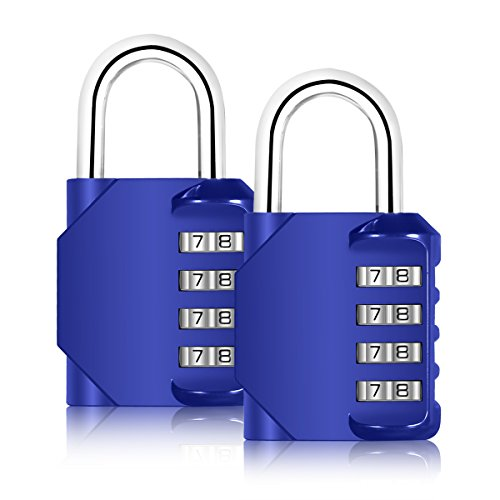 Blingco 2 Pack Zahlenschloss 4-stellige Anti Rost Vorhängeschloss Set Sicherheit Vorhängeschloss für Schule Tore, Gym Tür, Outdoor-Reise, Gepäck, Koffer