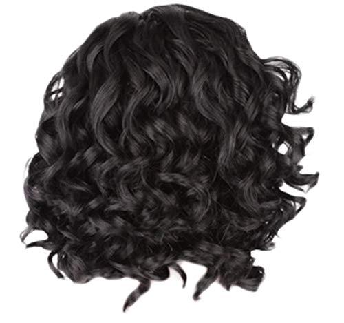 GreatFun Damen Perücke 12,5 Zoll Mittellanges Lockiges Haar Schwarze Haar Perücke Natürliche Haar Perücken Für Damen Cosplay Kostüm Halloween Party Haar Perücke mit Freier Perücke Kappe
