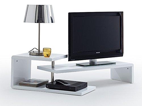 Agionda TV Lowboard Samira Weiss Hochglanz Lack Schwenkbar Drehbar TV Möbel Tisch Board Sideboard - 2
