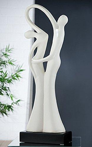 GILDE Keramik Skulptur Der Tanz matt Weiss Schwarze Base L = 9 x B = 17 x H = 50,5 cm