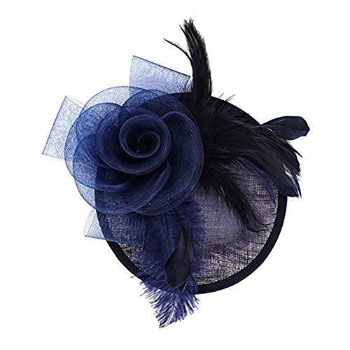 Fascinator Damen Frauen Braut Haarschmuck aus Mesh Federn Pillbox-Hut elegant Netzschleier vintage Headwear Haar Accessoire Kopfbedeckung Blumen Stirnband für Karneval Tea Party Cocktail Cosplay - Mutter Der Braut Hüte