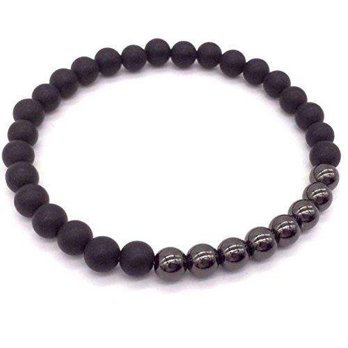 Lion & Son Pisa Armband - Herren-Kette Achat Lava Damen-Perlen-Band Schwarz Edel-Stein Mode-Schmuck Buddha Yoga, Farbe:Grey
