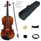 Kinglos 4/4 Brown Solid Wood Acoustic/Electric Violin Kit with Ebony Fittings Full Size