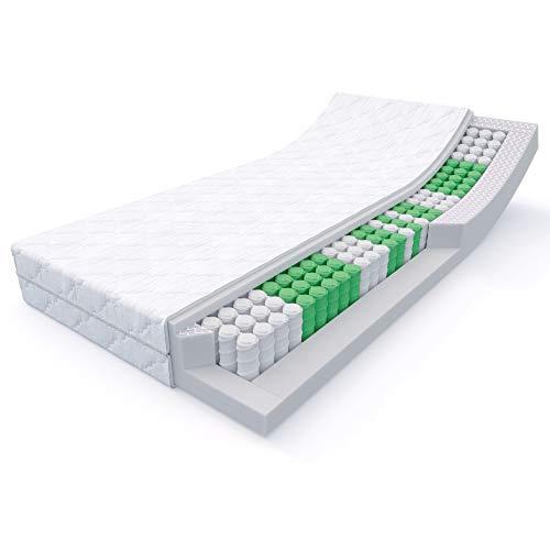 MSS 20 cm hohe 7-Zonen Taschenfederkern-Matratze Medic 90 x 200 cm H5-XL inkl. hochwertig versteppter Bezug - weiß -