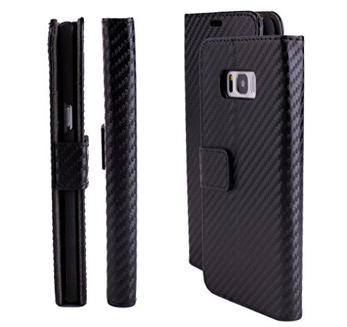 iCues Samsung Galaxy S8 Maraba Tasche Carbon Schwarz | Kartenfach Standfunktion Stand Leder Book Klapphülle Schutz Etui Flip Case Schutzhülle Booklet Hülle Wallet