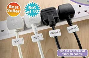 CORD NAME CLIPS TO LABEL ELECTRICAL CABLES SET OF 10