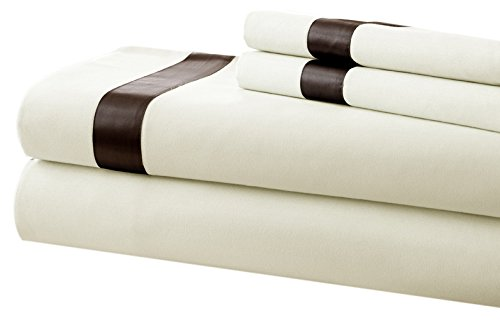 Pacific Coast Textilien T400-Bettlaken-Set mit Satin Band Saum, Baumwolle, elfenbeinfarben/Mokka, King -