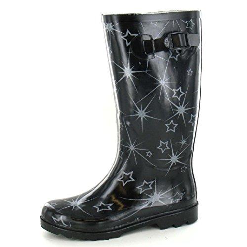 caoutchouc On Bottes motif en Femme Noir Spot étoiles vqt818