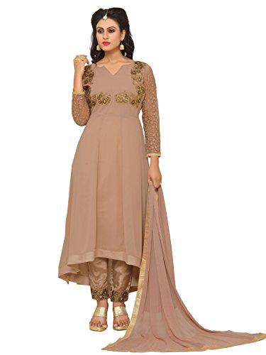 Ethnic Yard Semi-Stitched Free Size Faux Georgette Beige Anarkali Salwar Kameez