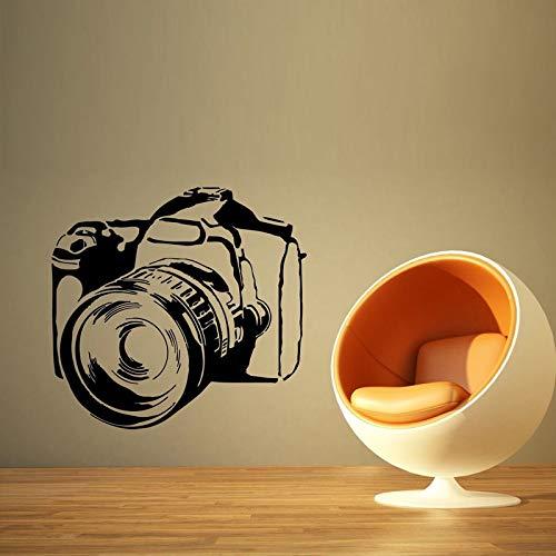 Cámara de Fotos Video Vinilo Pegatinas de Pared para la Sala de Estar Murales de Arte Tatuajes de Pared Extraíble Dormitorio Decoración del Hogar Cartel Negro 46X42 cm