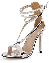 GLTER Mujeres Ankle Strap Bombas Popular Plata de tacón alto cruzado Sandalias Hollow zapatos de mujer encantadora zapatos de corte Plata Cone Heel Shoes , silver , 36