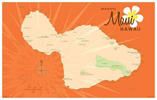 Northwest Art Mall Maui Orange Karte Vintage Art Print by lakebound ({outputsize. shortdimensions}). 12x18 inch